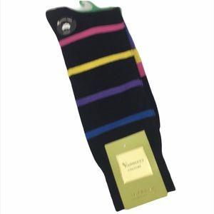 Vannucci Stripe Crew Socks, Black & Multi Color